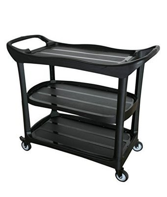 Large Size Utility Cart, 3 Shelf Cart with Heavy Duty Plastic Shelves H 37.6