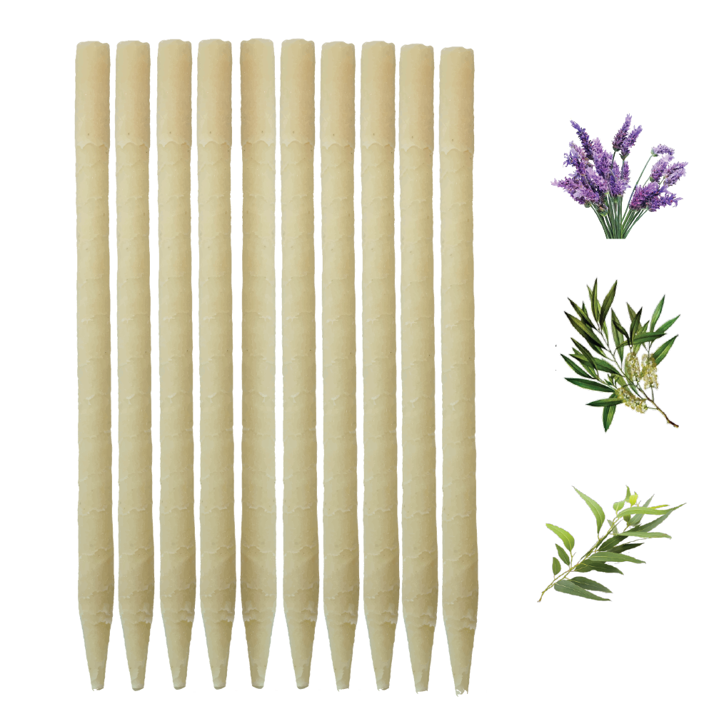 10pk Herbal Paraffin Ear Candles  (Infused w/Lavender, Eucalyptus, & Tea Tree Essential Oils)