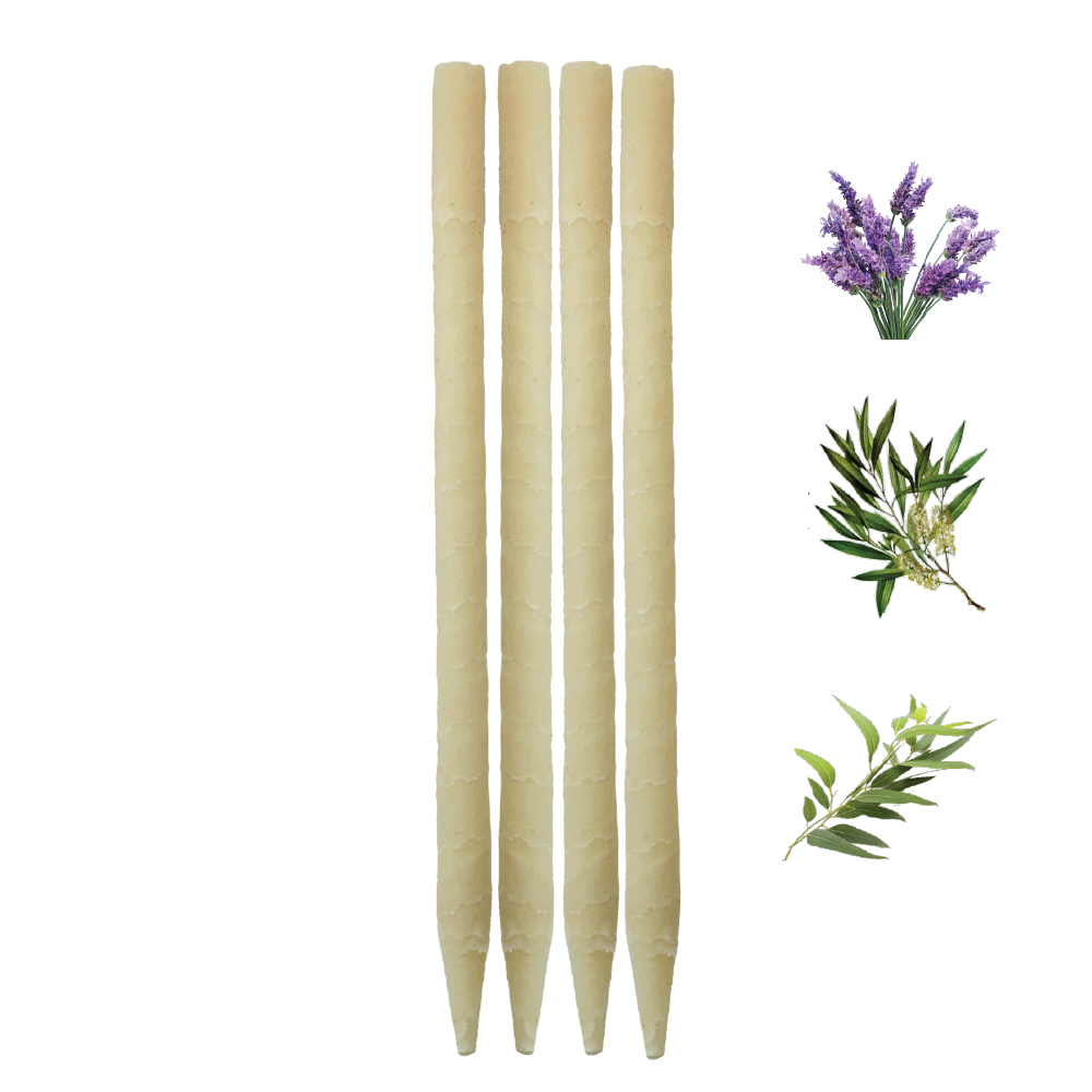 4pk Herbal Paraffin Ear Candles  (Infused w/Lavender, Eucalyptus, & Tea Tree Essential Oils)