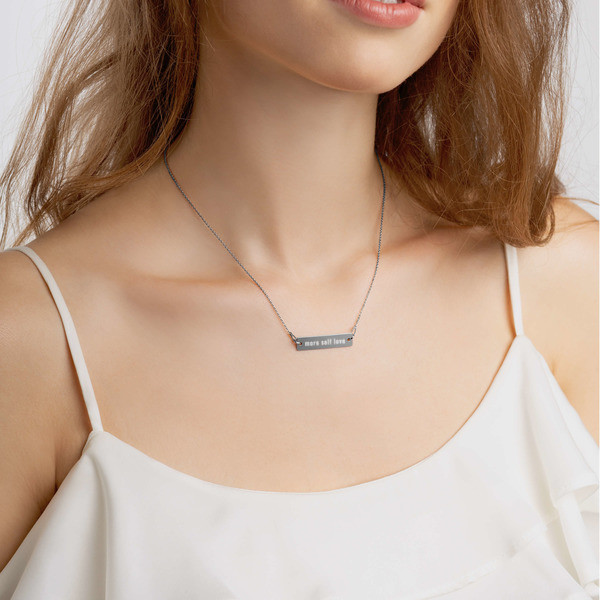 Engraved Silver Bar Chain Necklace (more self love)