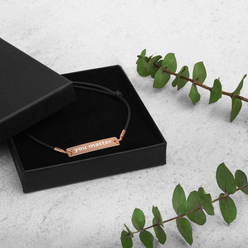 Engraved Silver Bar String Bracelet (you matter)