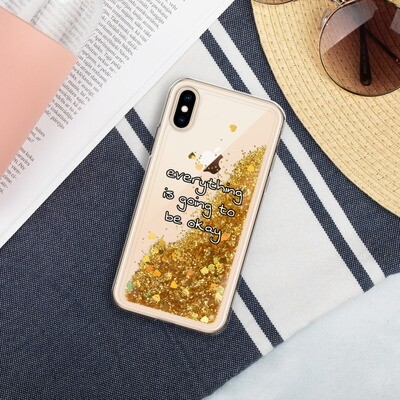 Liquid Glitter iPhone Case (Everything is Going to Be Okay)