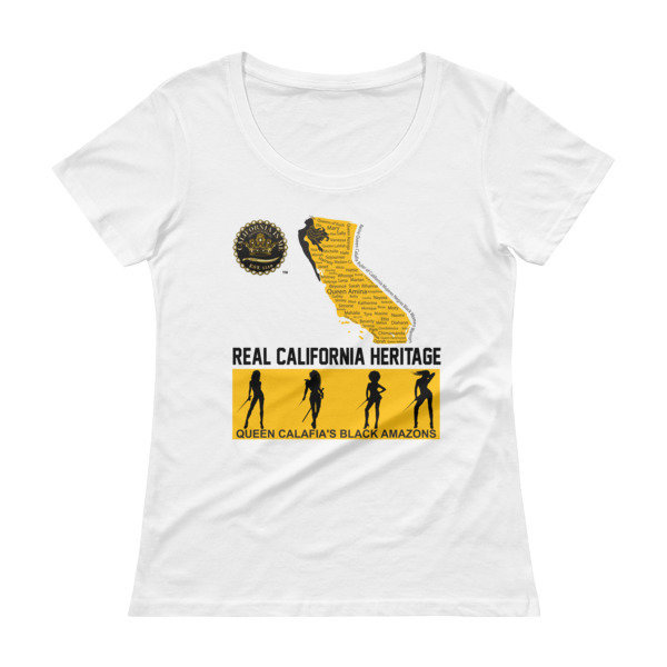 Queen's Real California Heritage Scoopneck Empowered CALIFORNIA IS ME EST. 1510 T-Shirt