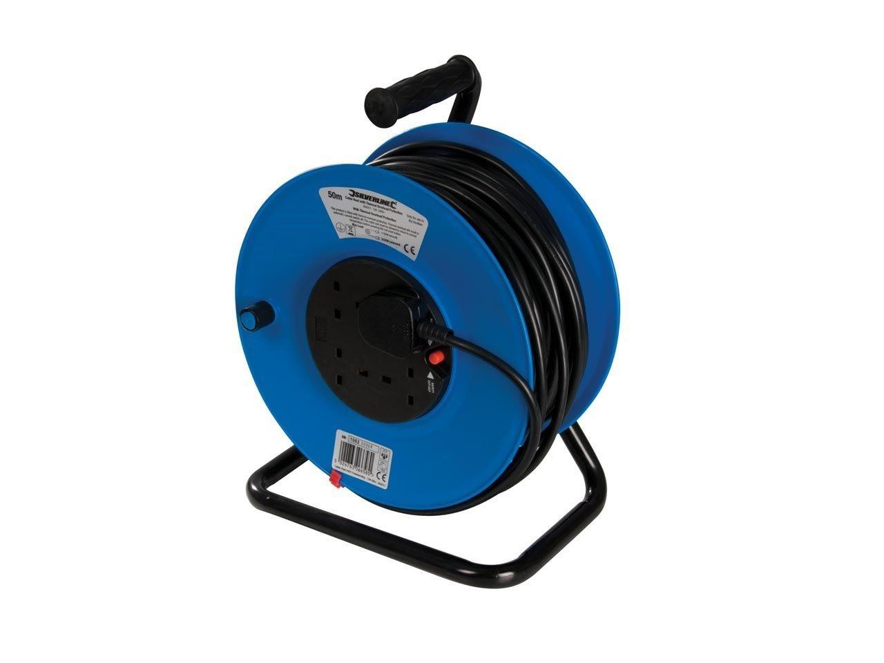 Power Master Cable Reel 240V Freestanding 13A 50m 4 Socket