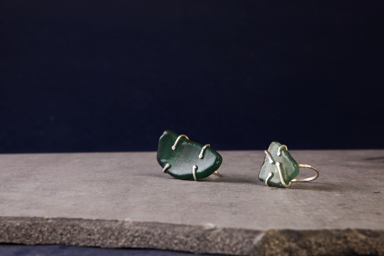 Серебряные кольца с морскими стекляшками