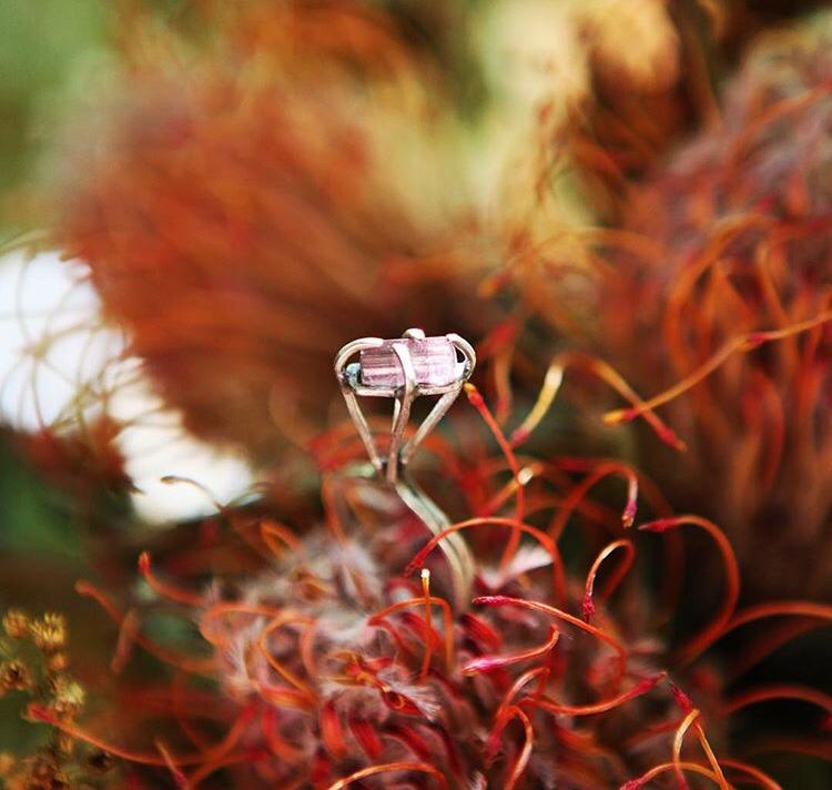 Кольцо с розовым турмалином