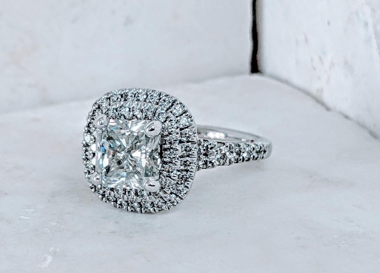 Stunning! 3 Carats Total (2.5 carat moissanite center) Radiant Moissanite and Diamond Ring Sz 7.5