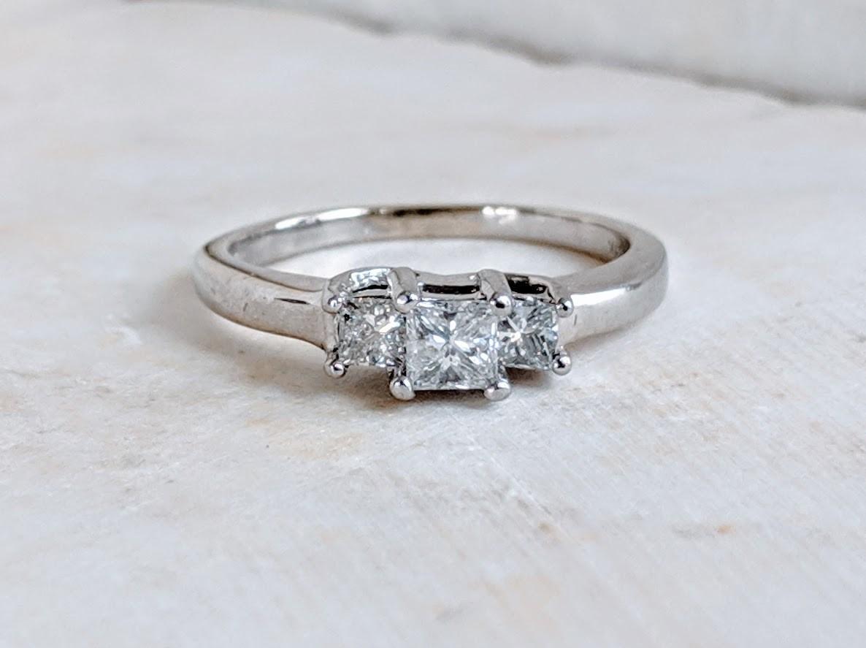 1/2 Carat Total 3 Stone Princess Cut Diamond Engagement or Anniversary Ring