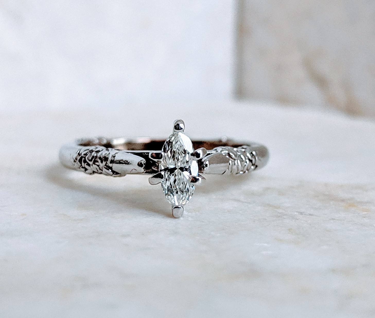 0.28 CT VS2, H Marquise Diamond in White Gold Solitaire