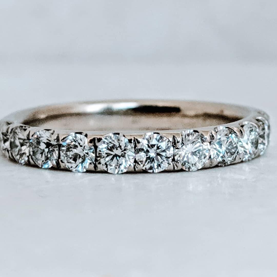0.70 CT VS+, F+ Diamond Band, CVD Sourced 14k White Gold