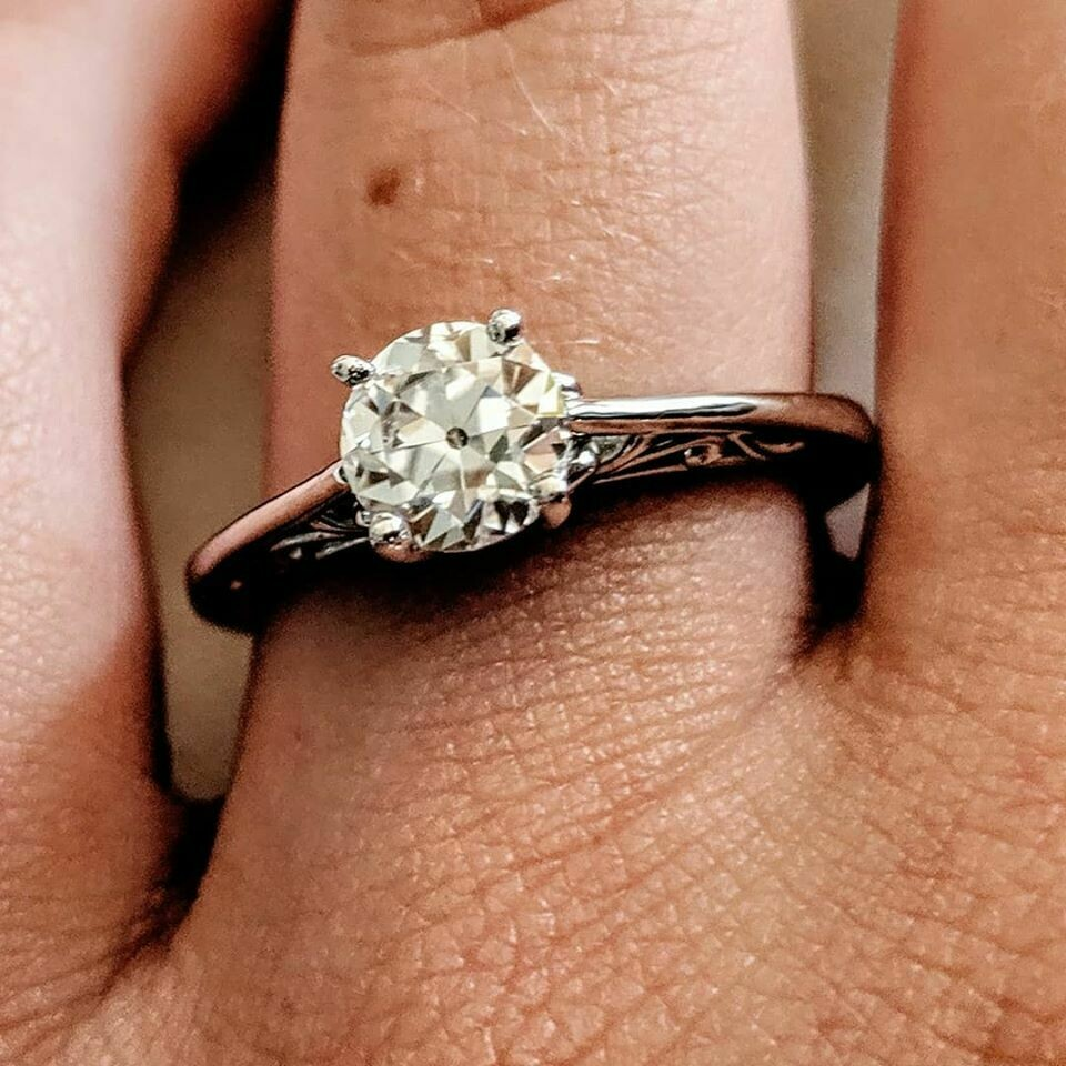 3/4 Old European Cut Moissanite Solitaire Ring
