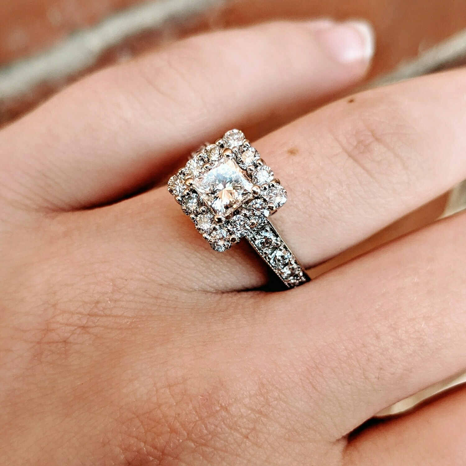 1.5 Cttw Princess Diamond Halo Engagement Ring 14k WG from Zales, Sz 5.75