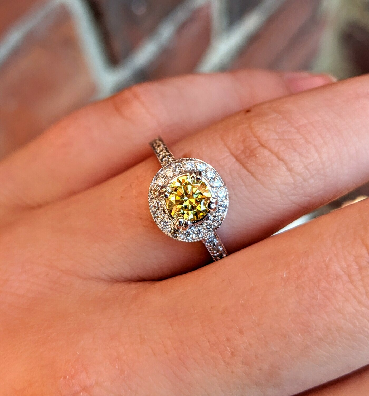 0.50 Ct Vibrant Yellow Diamond in 14k White Gold Halo