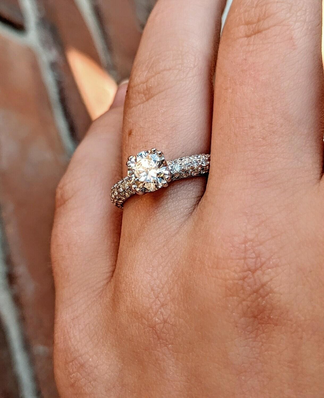 1.5 Ct Total, 0.96 Center, 18k Micropavé Diamond Engagement Ring