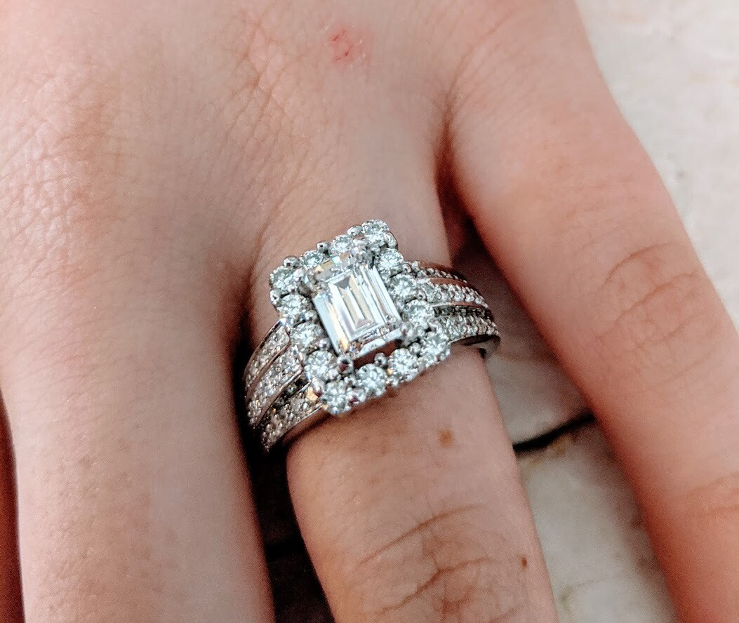 2.03 Carats Total Diamond Emerald Cut Engagement Ring 14k White Gold Sz 5.75