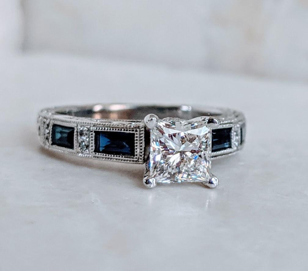 Kirk Kara Designer Diamond and Sapphire Engagement Ring 18k White Gold Size 6.25