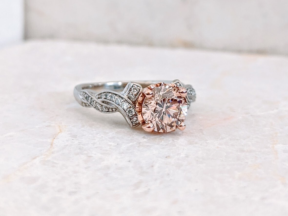 1.50 Carat Pink Champagne Diamond in 14k White Gold Setting by Designer Gabriel and Co Sz 7
