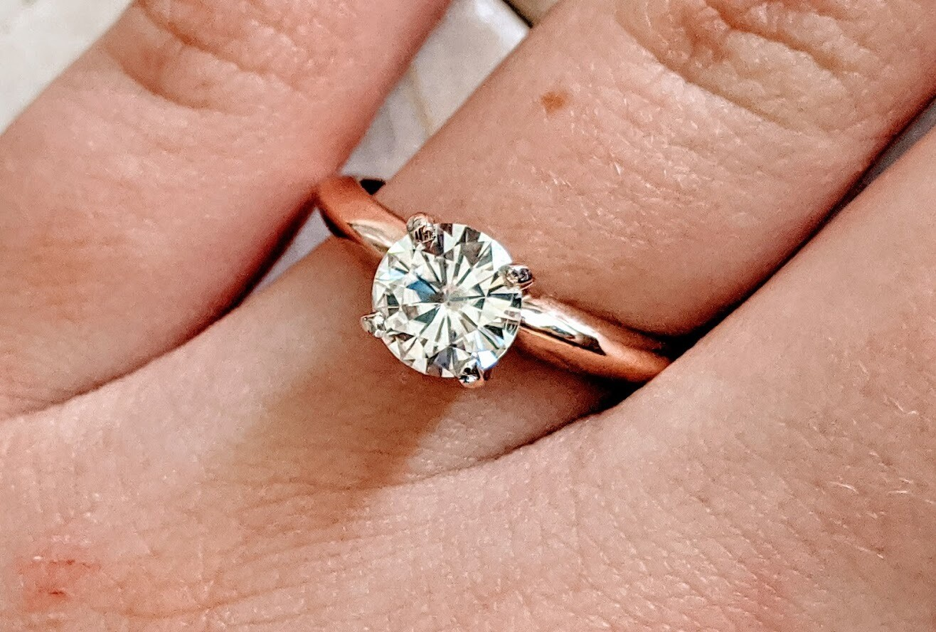 1 Carat Charles & Colvard Forever One Moissanite in 14k Rose Gold Solitaire Sz 7