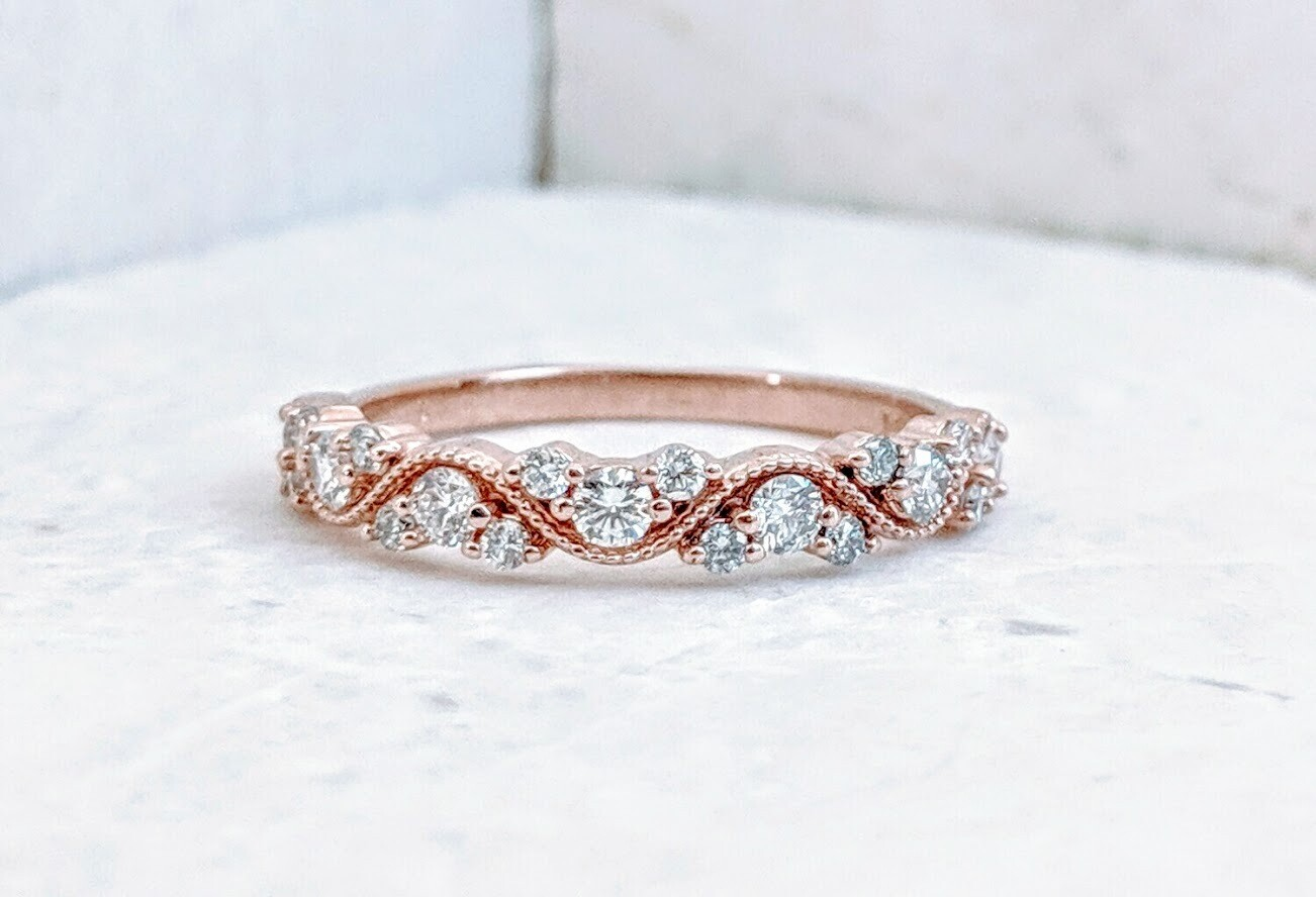 1/2 Carat Rose Gold Cvd Diamond Twisty Band