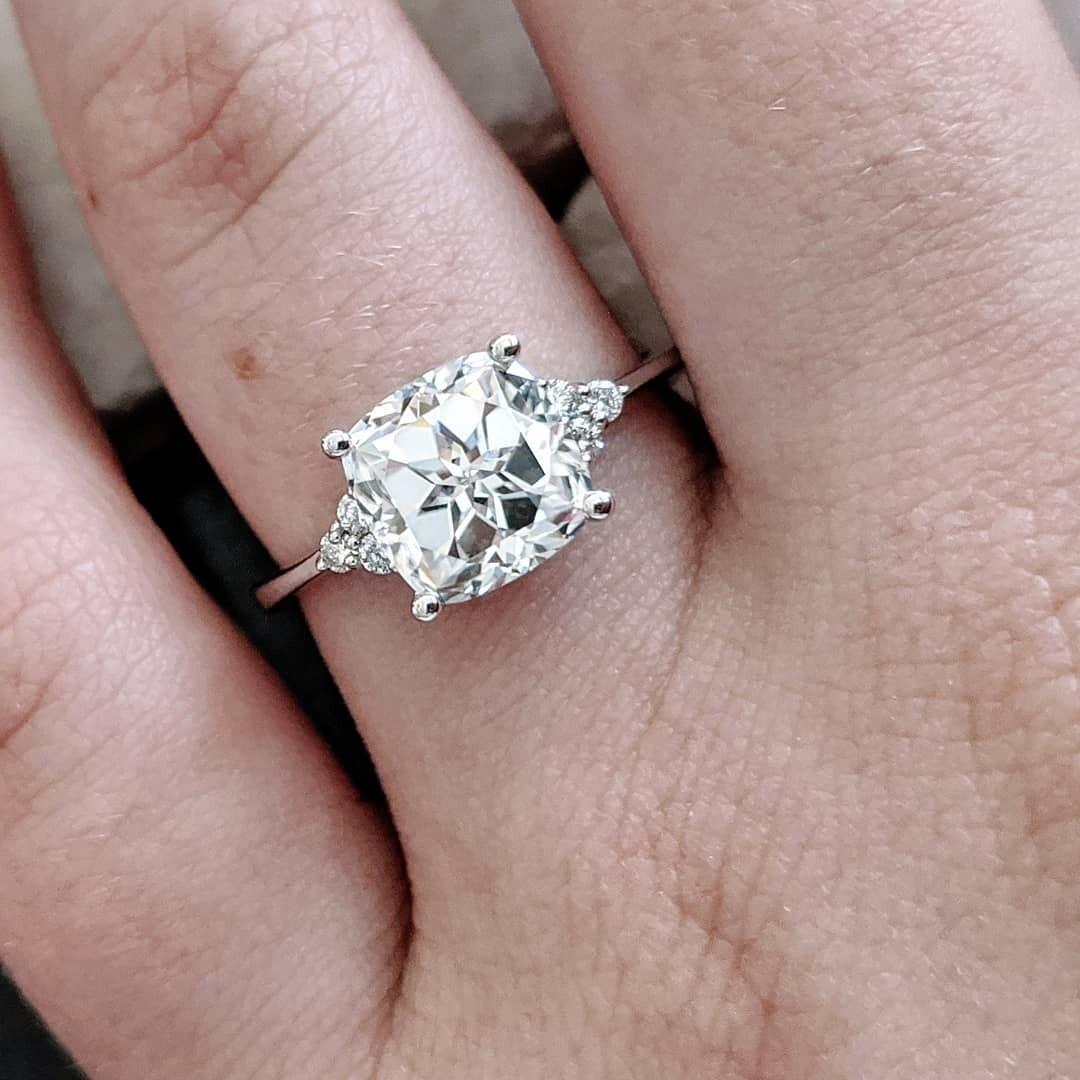 2.5 Custom Cushion Cut Moissanite and Diamond Engagement Ring Sz 6.5