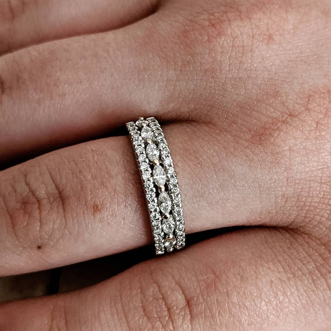 Gabriel & Co 1/2 Carat Natural Diamond Band, Rounds and Marquise in 14k White Gold