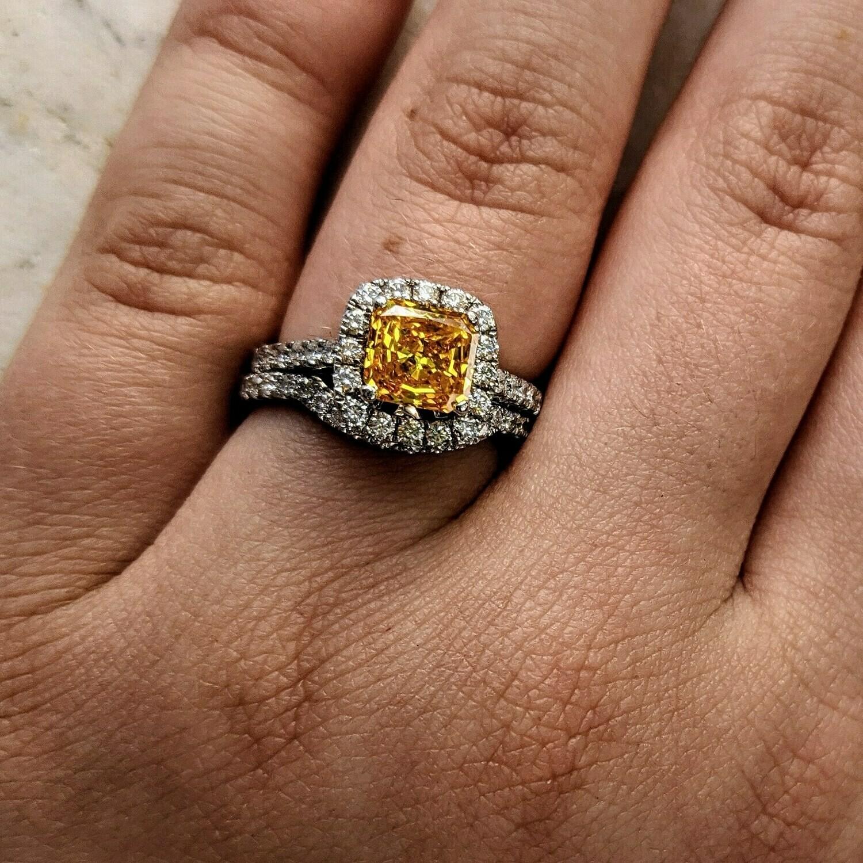 1.70 Ct Fancy Vivid Yellow Diamond Wedding Set 18k White Gold Sz 5