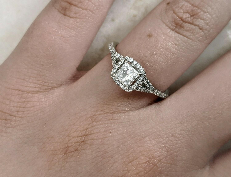0.63 Ct Natural Princess Diamond Halo by Seira 14k White Gold Ring Sz 6.5