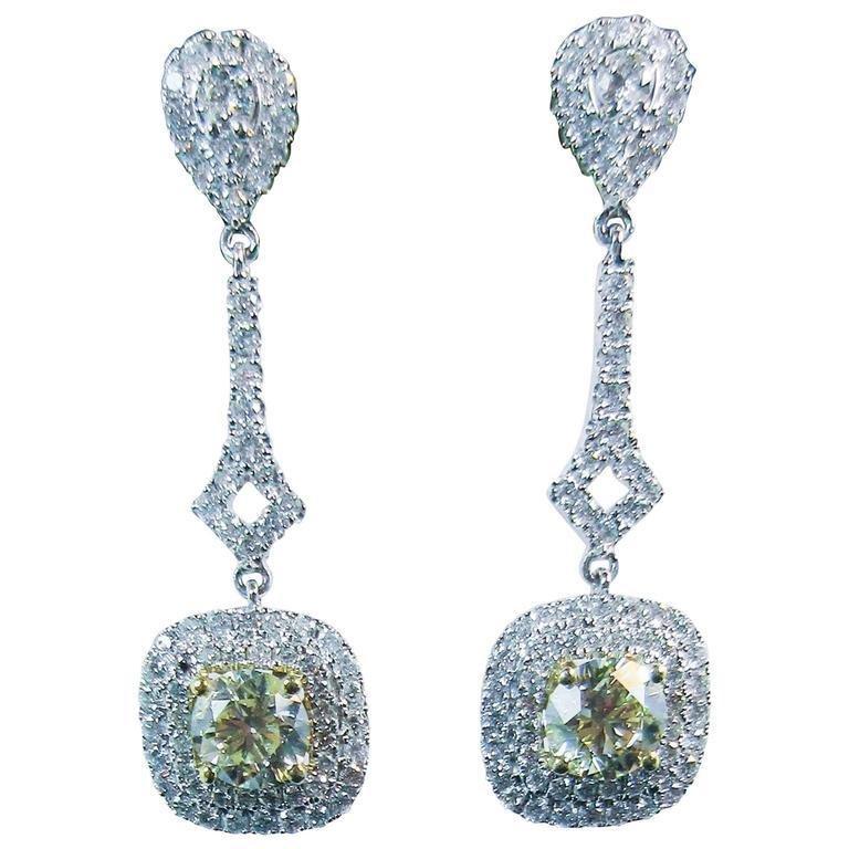 Stunning Yellow Cuts Diamond Pave White Gold Drop Earrings