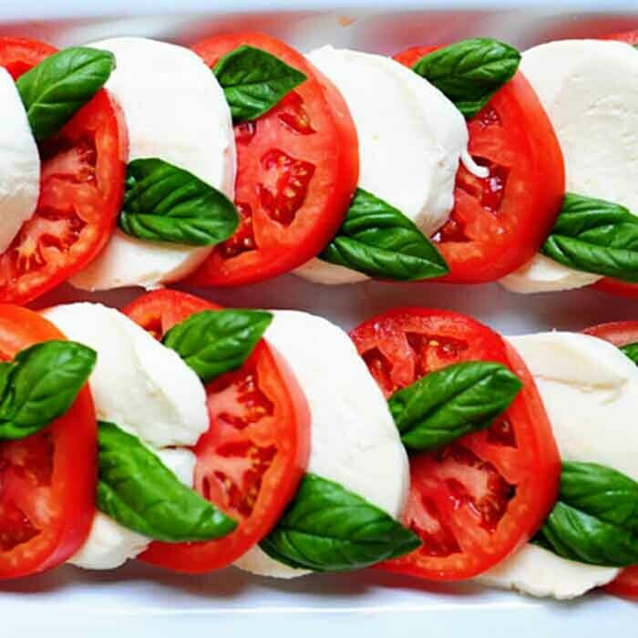 Mozzarella and Tomatoes with basil