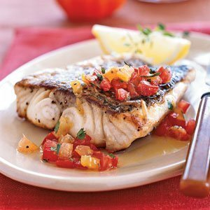 Grilled Sea Bass & Roasted Vegetables