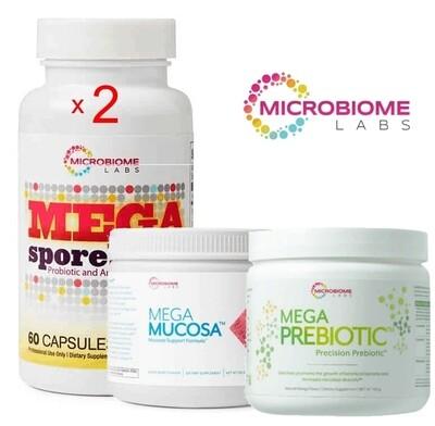 Total Gut Restoration Kit ( 2 x Megaspores 60c  + 1 x Mega Prebiotic + 1xMegaMucosa) - by Microbiome Labs