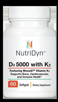 D3 5,000 IU, with K2, 60 capsules - Nutridyn