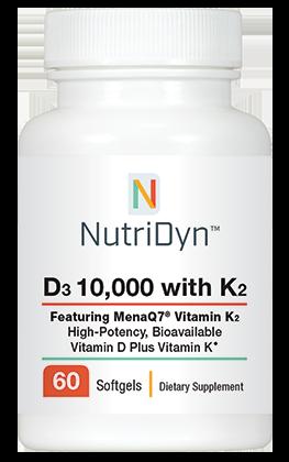 D3 10,000 IU, with K2, 60 capsules - Nutridyn
