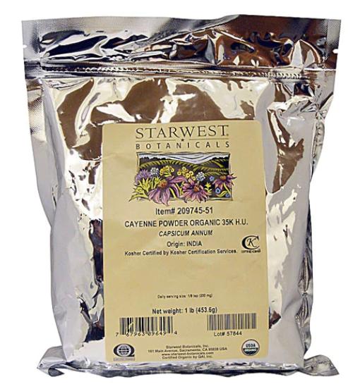 Organic Cayenne Powder 453g - Starwest Botanicals