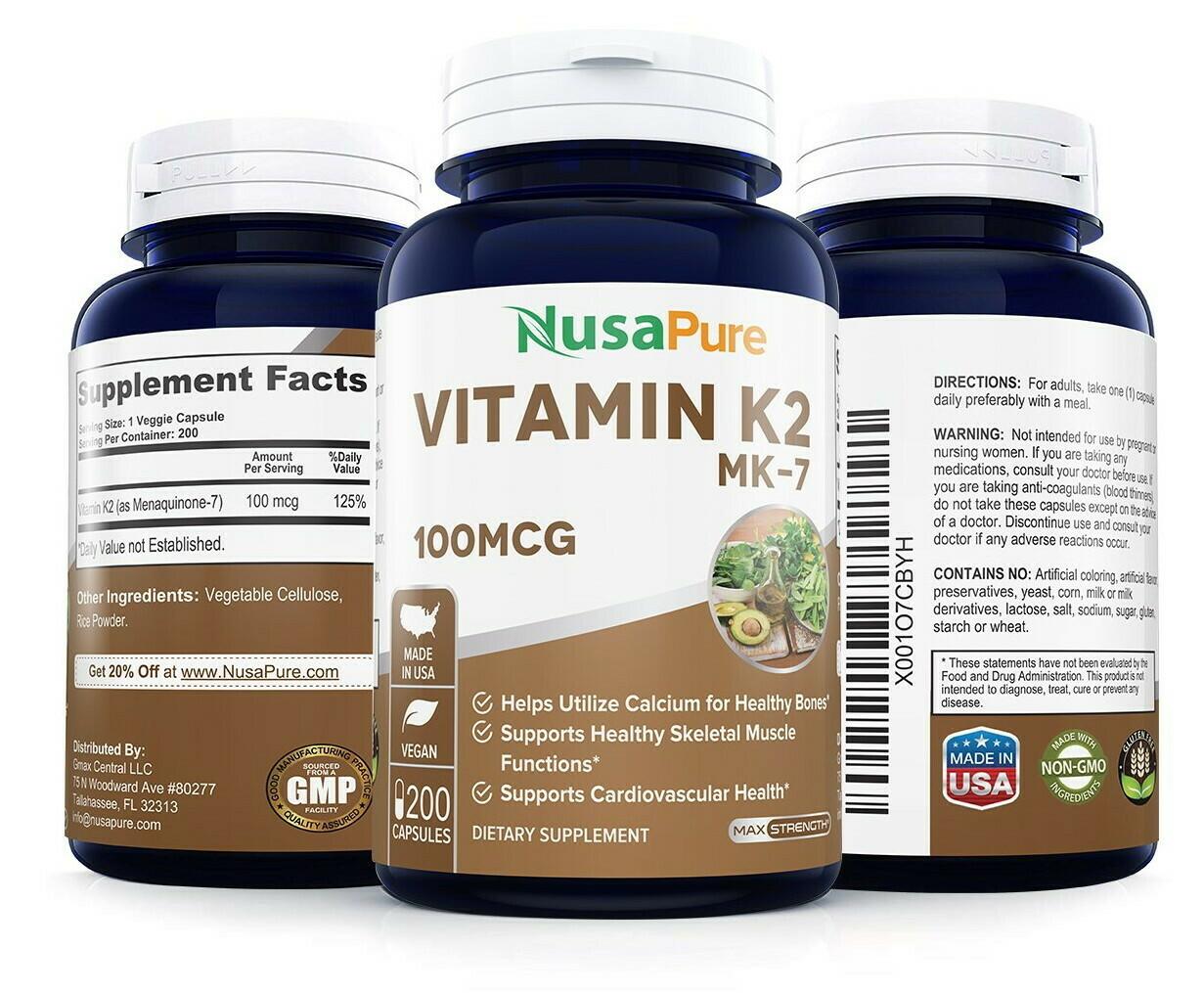 Vitamin K2 (MK-7) 100mcg 200vc - NusaPure