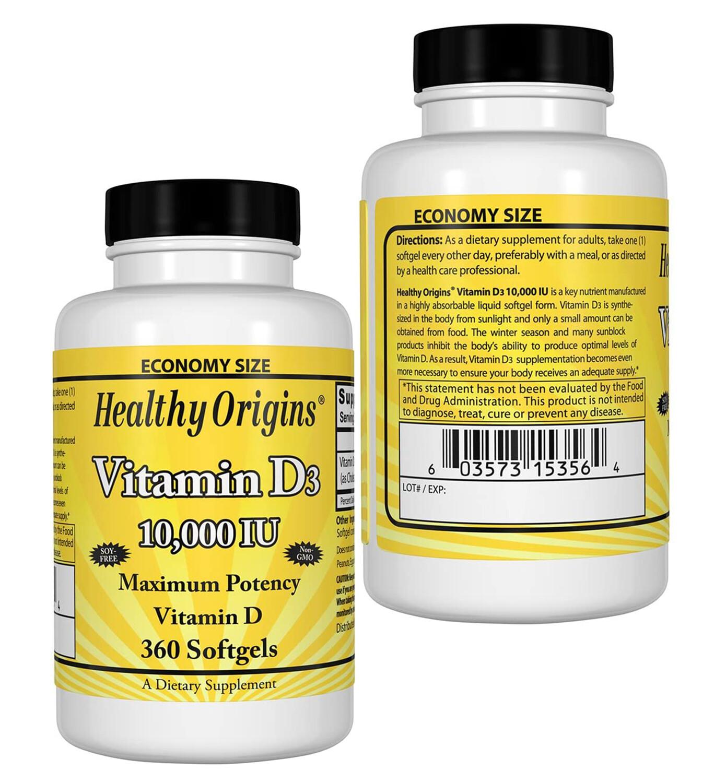 VITAMIN D3 GELS, 10,000 IU , 360c -Healthy Origins