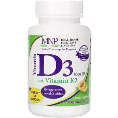 Vitamin D3 5,000 IU with Vitamin K2, 90 vegeterian chewable tablets - MNP