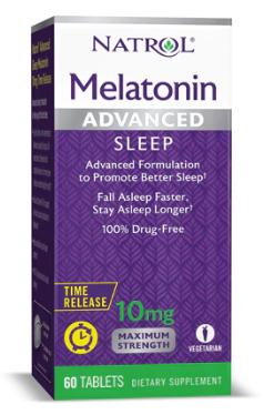 """מלטונין, 10 מ""""ג, 60 טבליות - בשחרור מושהה. תומך בכניסה לשינה וגם בהישארות בשינה"""