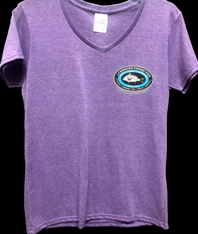 Lynnhaven Pier Novelty Back T-shirt with Front Left Chest Logo: Ladies V-Neck