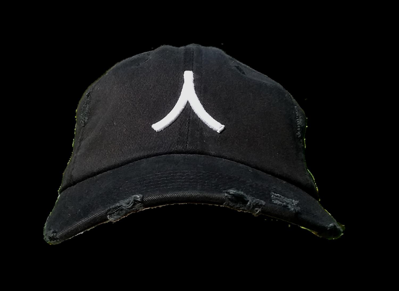 Character By Rakiem Logo Branded Destressed Cap - Black