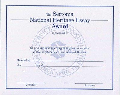 National Heritage Essay Certificate