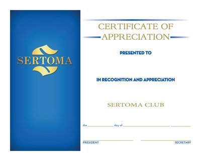 Certificate of Appreciation w/Pres&Sec Signature