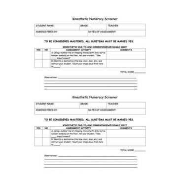 Kinesthetic Numeracy Screener - Kindergarten