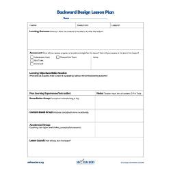 Backwards Design Template (Fillable PDF)