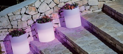 Vaso Tondo Cilindro luce luminoso 40 x h 50 cm
