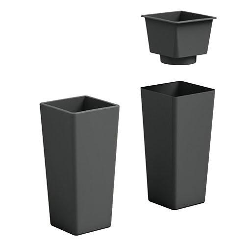 Vaso Quadrato Clou moderno h 65, 85 cm con interno estraibile in plastica
