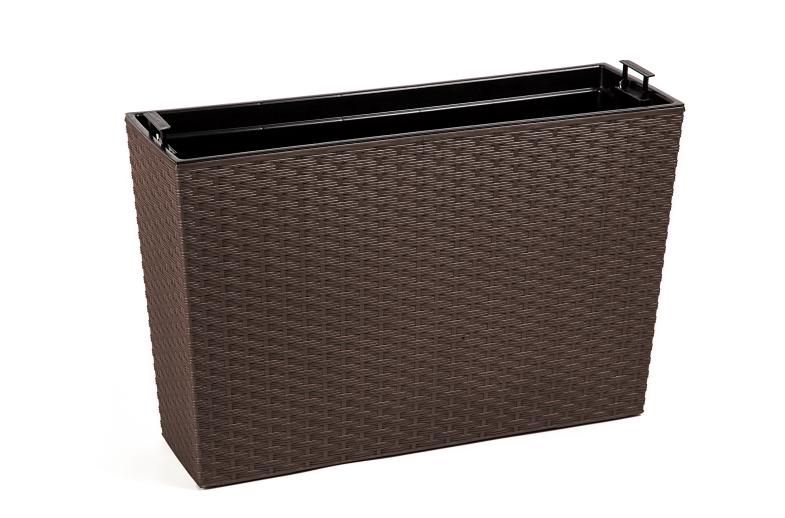 Cassetta moderna simil rattan 56x19xh 36,5 cm con interno estraibile in plastica