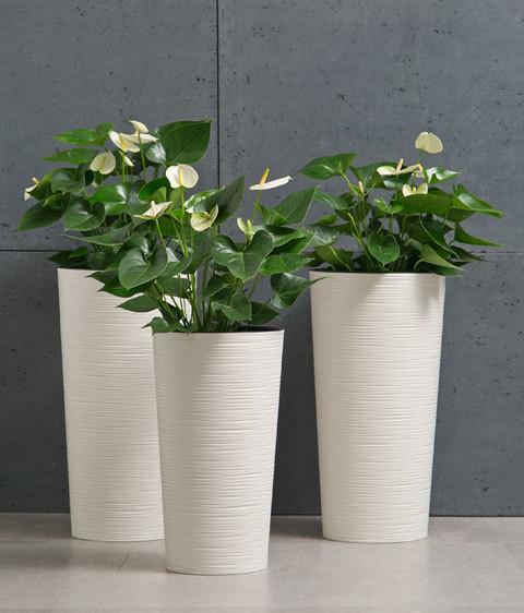 Vaso tondo rigato con inserto rimovibile h 46, 57 cm