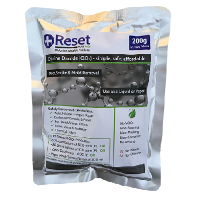 Chlorine Dioxide 200g (Pack of 2 - 100g Tablets) - Reset Pure