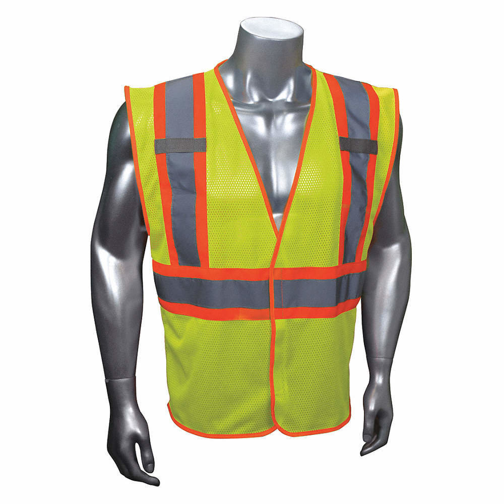 Yellow and Green with Silver Stripe Traffic Vest - Fits LG/XL